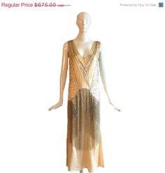 REDUCED 20s Dress/Flapper, Beaded, Art Deco Dream/ Beige silky crepe/ 1920s Gown