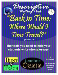 """Get your children describing!! Enter for your chance to win 1 of 4. Descriptive Writing Prompt """"Back in Time: Where Would I Time Travel?""""  (22 pages) from Teacher Oasis on TeachersNotebook.com (Ends on on 04-16-2017) Get your children using their imagination with this fun writing prompt!."""