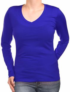 Segments Womens Long Sleeve Wool Shirt Layering Tee Stretch V-Neck Long Top #Segments #KnitTop #Casual #wool #vneck #shirt #top #bright #royal #blue #longsleeve #soft #comfort  #sale #clearance #discount #cute #adorable #fierce #womans #fashion #style #savvy #trendy