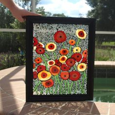 Stained Glass Mosaic Repurpose Frame Poppies Oz Flowers Window