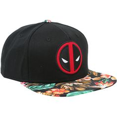 Marvel Deadpool Floral Sublimated Bill Snapback Hat Hot Topic ($15) ❤ liked on Polyvore featuring accessories and hats