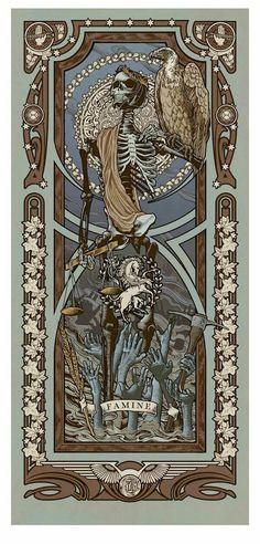 "Famine - ""Reapers of the Apocalypse"" Art Print Set by Ryan Begley Les Quatre Cavaliers, Art Nouveau, La Danse Macabre, Arte Black, Apocalypse Art, Illustration Art, Illustrations, Horror Art, Skull Art"