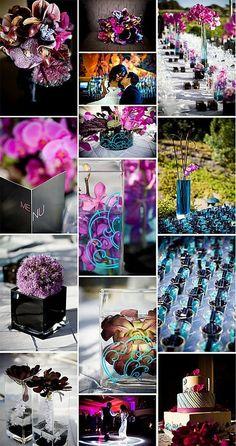 Art Purple, aqua, and black wedding colors wedding