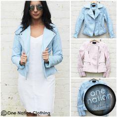 Baby blue biker jacket - Size 12