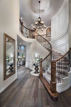 Great foyer staircase - Decor Home Ideas Flur Design, Plafond Design, Design Design, Design Ideas, Foyer Staircase, Staircase Design, Staircase Ideas, Curved Staircase, Spiral Staircases