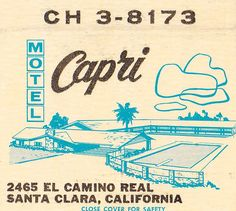 Another style match book Santa Clara, Vintage Hotels, Vintage Shops, Luggage Labels, Vintage Packaging, Light My Fire, Retro Logos, Illustrations, Capri