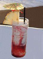 Lava Flow Recipe - Hawaiian Tropical Drink Recipe : 1 oz. light rum 1 oz. Malibu® coconut rum 2 oz. fresh or frozen strawberries 1 small banana 2 oz. unsweetened pineapple juice 2 oz. coconut cream