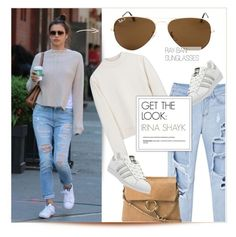 """""""Celebrity Look: Irina Shayk"""" by smartbuyglasses ❤ liked on Polyvore featuring Ray-Ban, adidas, Acne Studios, Chloé, GetTheLook, CelebrityStyle and IrinaShayk"""