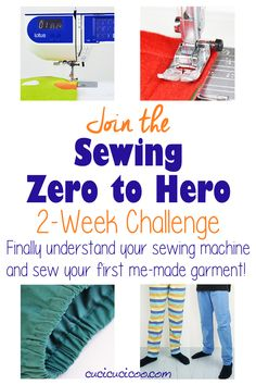 Learn to sew online with the Zero to Hero 2 week sewing challenge by Cucicucicoo! In just 14 days go from being a stranger to your machine to sewing your first me-made garment, a pair of comfy pajama pants! #learntosew #sewing101 Made Clothing, Diy Clothing, Sewing Clothes, Sewing Hacks, Sewing Tutorials, Sewing Projects, Sewing Tips, Sewing Online, Sew Your Own Clothes