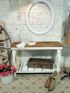 Painted Cottage Chic Shabby White Farmhouse by paintedcottages, $175.00