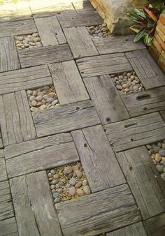 railroad ties with rocks in the middle.  quite rustic and wonderful
