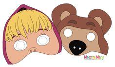 Le maschere di Masha e Orso Bear Birthday, 2nd Birthday, Birthday Parties, Printable Animal Masks, Bear Mask, Masha And The Bear, Bear Party, Ideas Para Fiestas, Bear Doll