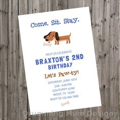 Puppy Birthday Theme | Puppy Birthday Party Invitation | Puppy Invitation | Dog or Pet Birthday | Boy 1st birthday 2nd Birthday | third Birthday | second birthday | first birthday | Blue Brown  Little boys and their puppies are so sweet! This invitation is great for first birthday or 2nd, 3rd, or 4th birthday on up! Simple design makes it easy to print yourself at home, if you want.  *** This listing is for a DIGITAL FILE only, no print will be sent.***  The invitation size is 5x7. You will…