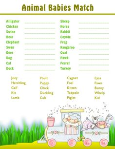 Printable Shower Games - Baby Animal Matching Game