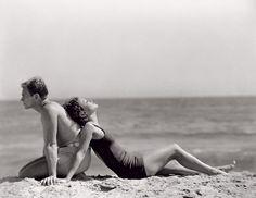 Douglas Fairbanks & Mary Pickford at the beach