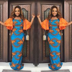 Creative Ankara Long Gown with Orange Material mix Styles .Creative Ankara Long Gown with Orange Material mix Styles African Print Dresses, African Print Fashion, Africa Fashion, African Fashion Dresses, African Dress, Ankara Fashion, African Prints, Fashion Outfits, African Outfits