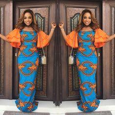 Creative Ankara Long Gown with Orange  Material mix Styles ...Creative Ankara Long Gown with Orange  Material mix Styles