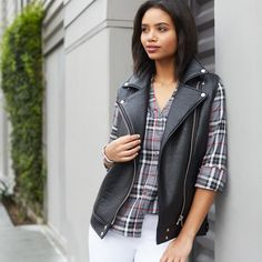 Moto must-haves. Biker-inspired outerwear diversifies in 2016 with vests, new fabrics & simplified silhouettes. #trendalert