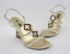 Louis Vuitton Creme Leather Wood Andalucia Wedge Sandals Heels Shoes 39.5 9.5 #LouisVuitton #PlatformsWedges