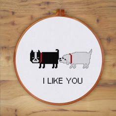 ThuHaDesign Funny Dog Love cross stitch pattern