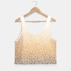 """""""White and ombre orange swirls zentangle"""" Crop Top by @savousepate on Live Heroes #croptop #croptank #fashion #clothing #apparel #pattern #drawing #zentangle #doodles #abstract #vibrant #ombre #gradient #white #orange #apricot #amber #copper #bronze #brown #autumcolors #fallcolors"""