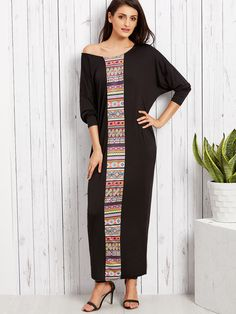 Shop Black Tribal Print Drop Shoulder Long Sleeve Loose Maxi Dress online. SheIn offers Black Tribal Print Drop Shoulder Long Sleeve Loose Maxi Dress & more to fit your fashionable needs.