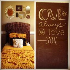 Girls Owl bedroom decor ideas. Mustard and dark brown