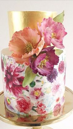 Tasty and Delicate Wedding Cakes for Spring --- painted cake with colorful floral toppers and foil wrap. Gorgeous Cakes, Pretty Cakes, Amazing Cakes, Bolo Floral, Floral Cake, Pastel Floral, Wedding Cake Designs, Wedding Cakes, Hand Painted Cakes