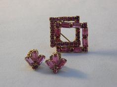 Vintage Bright Pink Rhinestone Brooch and by 1littletreasureshop, $12.95