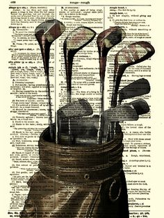 Golf Print on 115 Year Old Dictionary Page by reimaginationprints