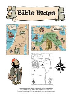A web site dedicated to parents and children where you will find a variety of arts-and-crafts, activities, and paper toys to cut out and assemble and play with. Maps For Kids, Bible For Kids, Bible Lessons, Lessons For Kids, Abraham And Sarah, Bible Mapping, Sea Of Galilee, To Color, Color Black