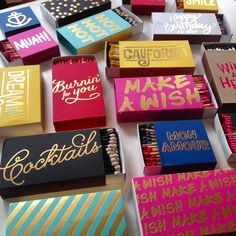 One can never have too many colorful match boxes with gold embossing!