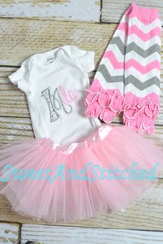 Personalized baby girl outfit with tutu by SweetAndStitched