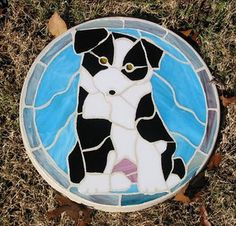 Puppy Dog - Stained Glass Stepping Stone I made for an animal rescue charity auction.  Garnered $75 for the event.