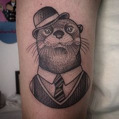 Dapper raccoon tattoo by gael ricci st raphael france for Blood poisoning from tattoo