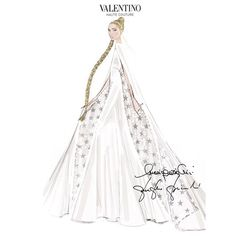 The custom made Lady Gaga gown and cape designed by Creative Directors Maria Grazia Chiuri and Pierpaolo Piccioli for Valentino Sketch
