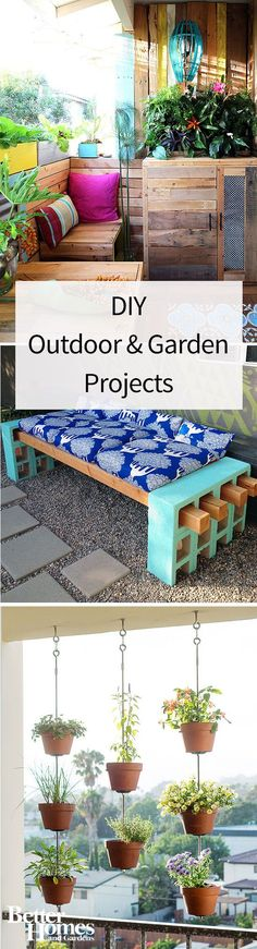 Take your DIY talents outside! We have lots of colorful and easy outdoor DIY projects to make your yard, apartment patio, garden and front yard bursting with uniqueness. Make a DIY table out of pallets, a DIY bench from painted bricks or a hanging co Diy Projects Cans, Outdoor Projects, Garden Projects, Garden Ideas, Wood Projects, Patio Diy, Patio Ideas, Backyard Ideas, Backyard Decorations