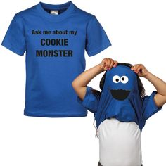 Sjirt Grappig T-shirt Korte Mouw Cookie Monster Blauw Kinderkleding, Kindermode en Babykleding www. T Shirts, Funny Shirts, Elmo And Friends, Silhouette Cameo, Baby Kids, Lol, Cookie Monster, Detail, Halloween