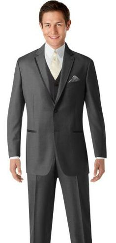 Groom's Tux: Charcoal Grey with Ivory Tie