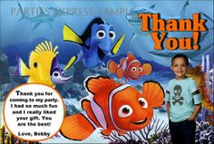 Finding Nemo Thank you note cards birthday party supplies
