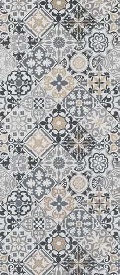 Ornate tile motifs printed with metallic highlights. Named after an ancient hill town in Liguria.<br>Cervo by Osborne and Little wallpaper Osborne And Little Wallpaper, Funky Wallpaper, Tile Wallpaper, Pattern Wallpaper, Wallpaper Backgrounds, Tile Patterns, Pattern Art, Textures Patterns, Tiles Texture