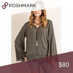 Olive Crochet Hem Strappy Top NO TRADES | FIRM PRICE   Loose fitting long sleeve top with crochet hem and front criss cross straps. Wide sleeves. 100% rayon. THIS LISTING IS FOR OLIVE. Available separately in black. JV Boutique Tops