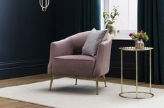 The Lacey Velvet Armchair in Taffy Pink, for total wow-factor with uncompromising style and comfort. Available in four luxurious finishes, and with golden legs.
