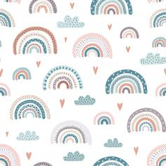 Cute rainbows and hearts seamless pattern. Adorable background - Buy this stock vector and explore similar vectors at Adobe Stock Cute Wallpaper Backgrounds, Cute Wallpapers, Backgrounds Free, Ciel E, Kids Patterns, Rainbow Art, Surface Pattern Design, Baby Design, Free Vector Art
