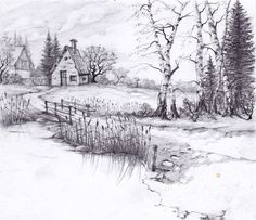 drawings landscape pencil drawing nice place sketches vacation scenery nature easy sketch zeichnen sungai lukisan rumah desenhos tepi landscapes simple