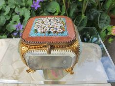 Micro Mosaic and Glass Jewelry Casket with Micro Mosaic lid, 19th century