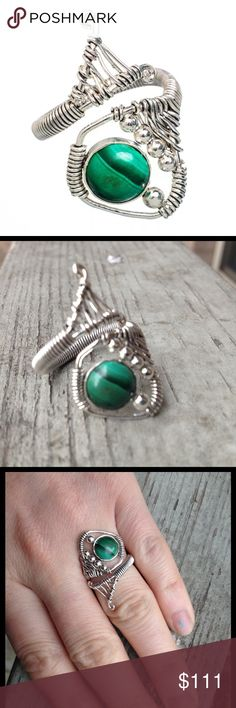 Malachite & Sterling Silver Wrap Welded Adjustable Malachite & Sterling Silver Wrap Welded Adjustable from size 8; One of I kind a ring conversation starter Jewelry Rings