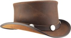 """Our most modest topper. With a 4 ½"""" tall crown and simple Buffalo style band, the El Dorado can easily be dressed up or down. The luster of its full-grain, smooth leather is complimented by a shapeable wire brim for a personalized attitude adjustment."""