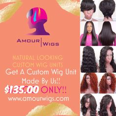 Get a Custom Wig Unit for $135.00 Send us your Bundles | Specialize in 100% human hair wigs. We make high quality custom wig units for all head sizes using 100% virgin human hair extensions, lace closures, & lace frontals. We offer lace closure wigs, lace front wigs, u part wigs, full lace wigs, 360 lace frontal wigs, no part/flip over wigs, & full wigs. We pride ourselves on creating natural looking custom made wigs that are unique and appeal to all women.