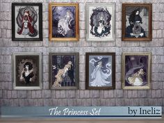 A set of gothic portraits of fairy tale princesses: Rapunzel, Snow White, Elsa, Cinderella, Alice, Belle, Little Red Riding Hood and Eliza. Found in TSR Category 'Sims 4 Sets'